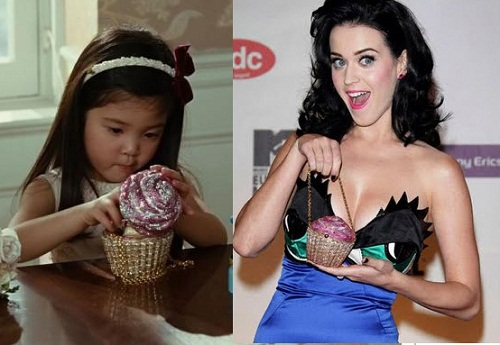 Bag 'cupcake' in the film 'Sex and the City' and in the hands of Katy Perry