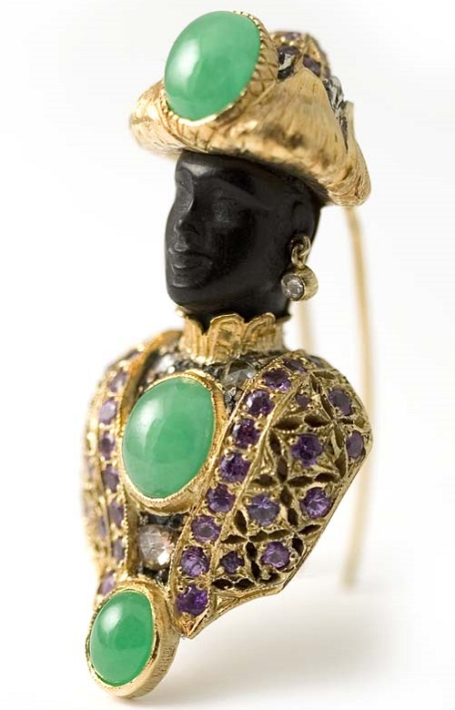 18 kt. gold 'Moretto' brooch set with apple green jade, purple sapphires and diamonds