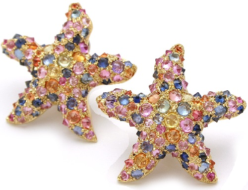 18 kt. gold 'Stelle Marine' earrings set with colored sapphires