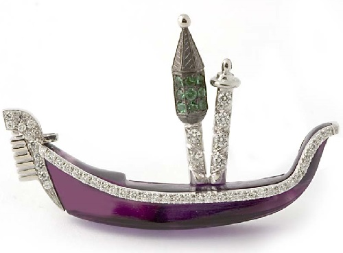 18 kt. gold and amethyst 'Gondola' brooch set with tzavorites and diamonds