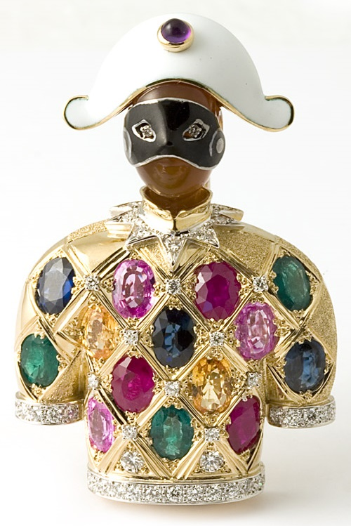 18 kt. gold, enamel 'Arlecchino' brooch with sapphires, emeralds, rubies and diamonds