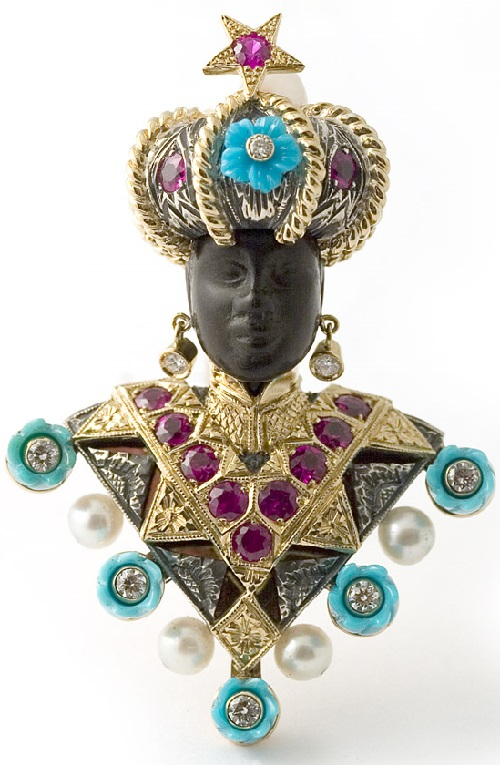 18 kt. gold, silver 'Moretto Paola' brooch set with rubies and turquoise