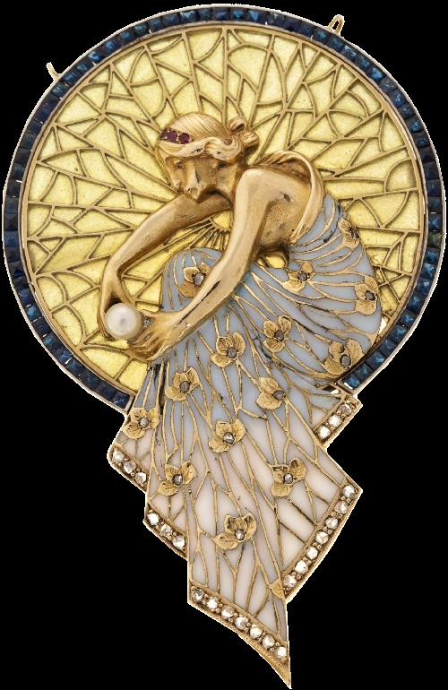 Brooch Pendant with nymph designed by Masriera, made in the workshop of Lluis Masriera. (Courtesy Balcli's)