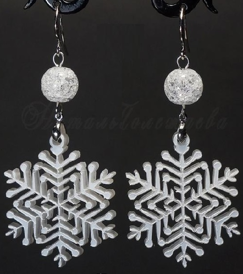 Earrings Falling snowflakes (Winter Collection). Materials ice crystal, snowflake - acrylic glass, brass with rhodium plating