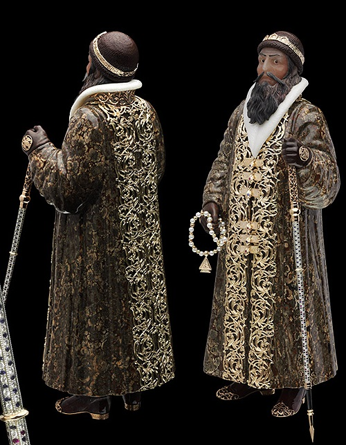 Ivan the Terrible. Gold, silver, diamonds, sapphires, rubies, obsidian, jasper, cacholong, Belorechensky quartzite