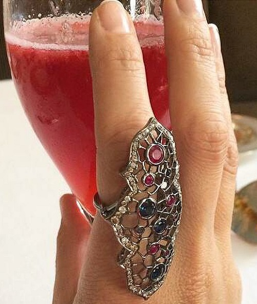 Spider web ring rubies, sapphires and diamonds