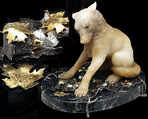 Wolf. Casket Ostrich. Gold, silver, obsidian, citrine, jade, gold plating
