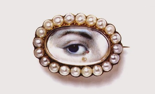 A splendid miniature eye portrait from the Victoria and Albert Museum, with a diamond teardrop