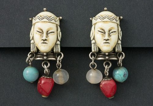 Paul Selenger costume jewellery. Asian princess earrings