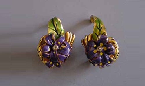 DeROSA purple enameled lily earrings