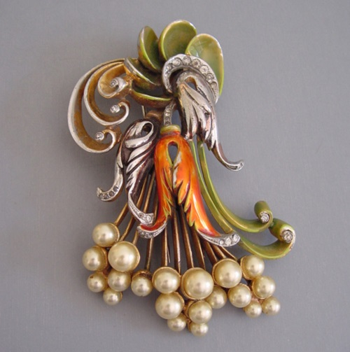 DeRosa fur clip with orange and green enamel, clear rhinestones and artificial pearls