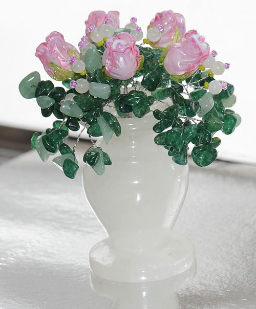 English roses bouquet - pink white onyx, aventurine
