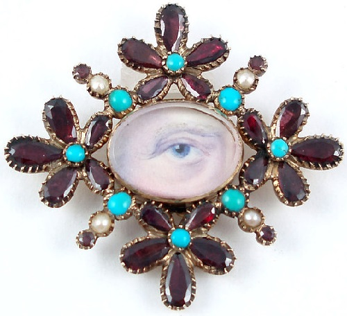 Eye miniature with elaborate jeweled frame. Georgian. Circa late 1700s