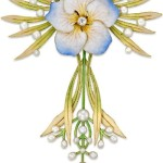 Enamel and pearl flower pendant. Blue, white and yellow enamelled flower head with brilliant-cut diamond centre, circa 1900