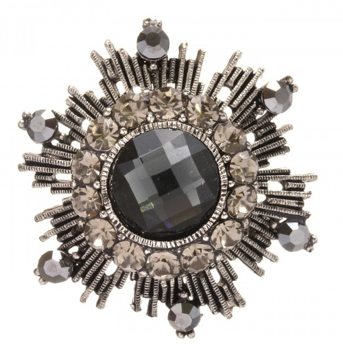 La Bourgeoise Brooch-Order in Guards style with colored crystals