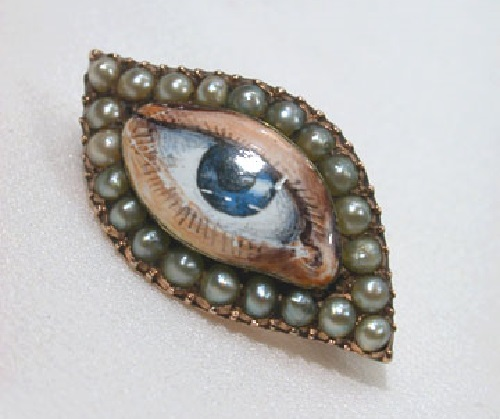Lover's eye. Circa 1800. An enigmatic enamel eye in the overall eye shape