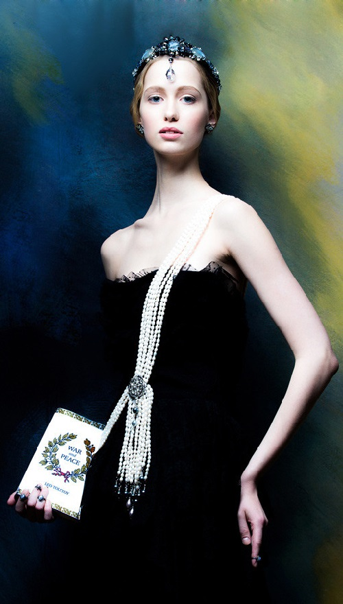Pearl ribbon and a tiara of crystals and gems. War and Peace jewelry collection