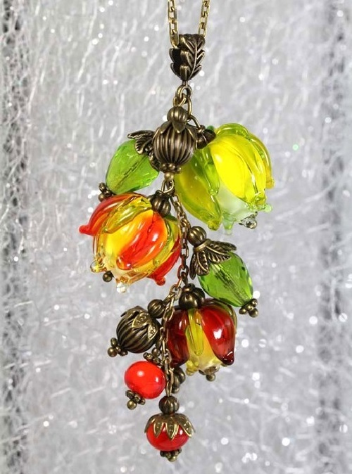 Pendant Autumn lanterns - lampwork, bronze, autumn, with a chain, Swarovski