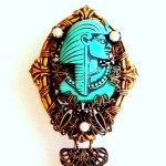 Egyptian brooch with dangles aqua blue chainmaille faux pearls