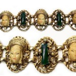 1950s Selro Selini Asian Princess Panel Bracelet Gold, Ivory & Green Art Glass White Pearls