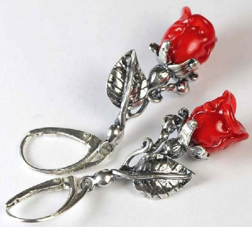 Silver earrings - roses