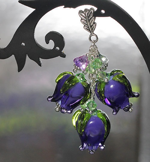 Suspension Lilac Dream - pendant bud, silver