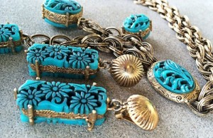 Charm necklace long earrings molded aqua turquoise blue thermo set