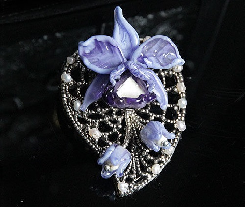 Violet orchid brooch with pearls