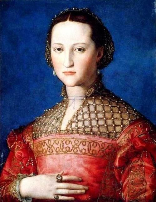 Symbolism of wearing rings. 1543 Eleonora de Toledo by Bronzino. National Gallery, Czech Republic