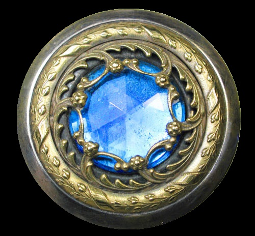 Antique Gay 90s Button Faceted Blue Glass Jewel Fancy Pierced Brass Accent