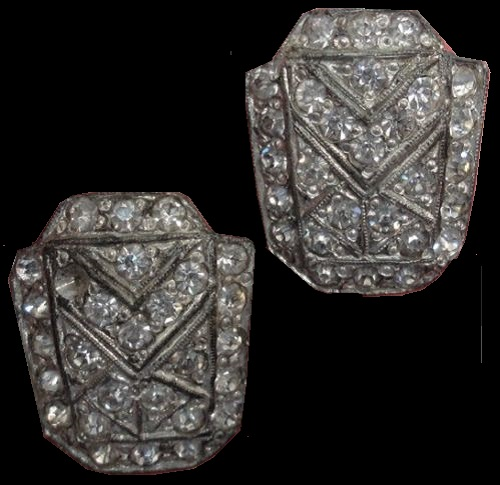 Antique Vintage Brass Shoe Button Covers Pair. Shield Shape with glass paste gems