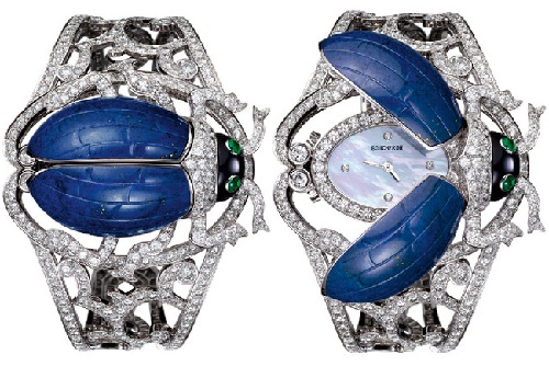 Insect Jewellery Kaleidoscope. Bracelet Watch as a scarab beetle. Lapis lazuli, onyx, emeralds, diamonds. Boucheron. 2011