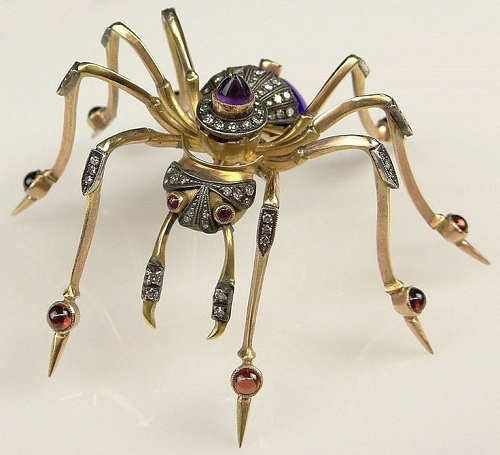 Insect Jewellery Kaleidoscope. Brooch. Gold, diamonds, amethysts, rubies. Russia, early 20th century