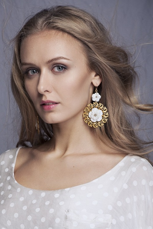 Earrings by Bakhtiyor Baltabayev. Model Kristina