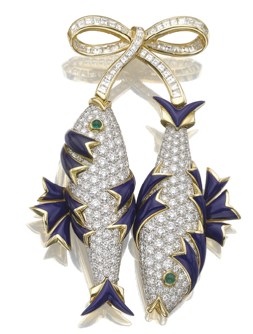Enamel emerald diamond fish brooch poissons. . French jewelry designer Jean Schlumberger