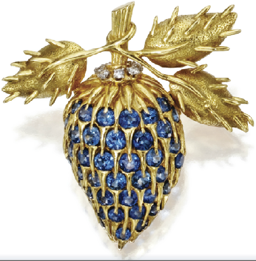 Gold, Sapphire and diamond thistle brooch by French jewelry designer Jean Schlumberger