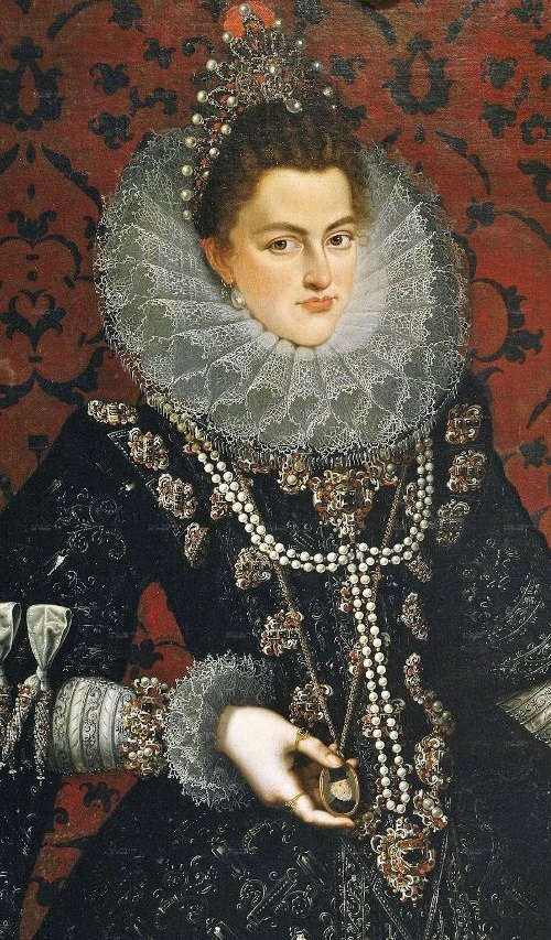 Symbolism of wearing rings. Infanta Isabella Clara Eugenia (1566-1633) 1598