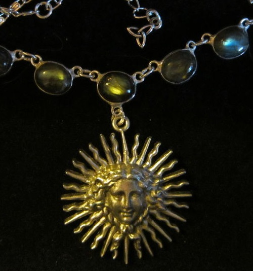 Necklace 'Aelita', made of beautiful labradorite, shining rainbow and silver plated, art deco style