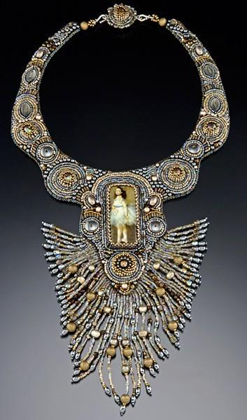 Necklace. Embroideried jewelry by Sherry Serafini