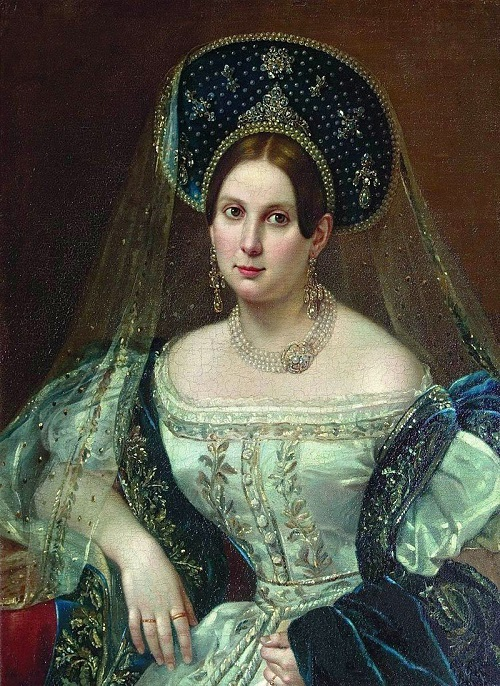 Symbolism of wearing rings. Pimen Nikitich Orlov (1812-1865). Portrait of an unknown in the Russian court dress