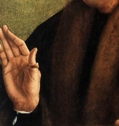 Symbolism of wearing rings. Quentin Matsys. Portrait Profile of an Old Man
