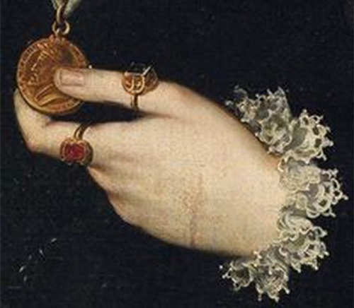Symbolism of wearing rings. Sofonisba Anguissola, Portrait of Archduchess Johanna of Austria, 1561
