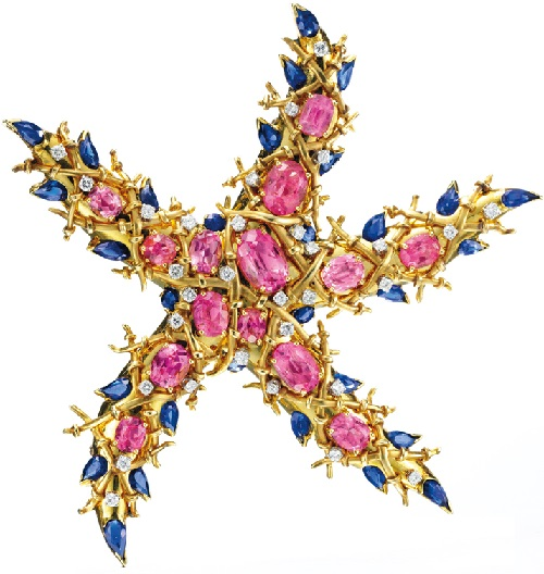 Tourmaline, sapphire and diamond Starfish Brooch by Jean Schlumberger, circa 1945