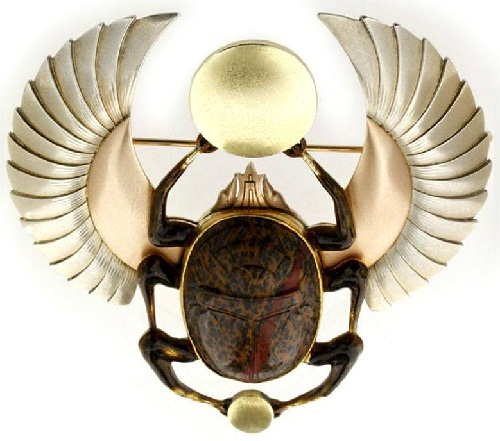 Insect jewellery symbolism. Victorian Scarab brooch