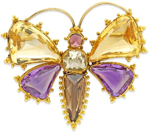 Victorian brooch. Gold, amethyst, citrine and garnet, approx. 1890