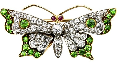 Victorian brooch. Gold, emeralds, diamonds. 1890