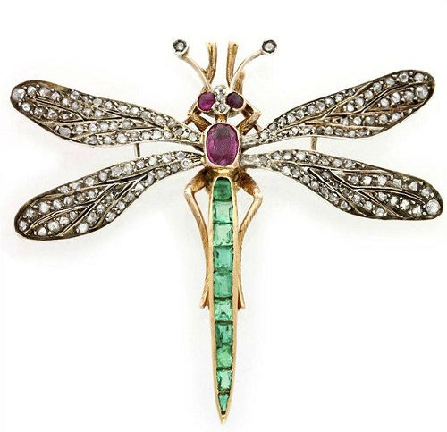 Insect Jewellery Kaleidoscope. Victorian brooch. Gold, emeralds, rubies, diamonds