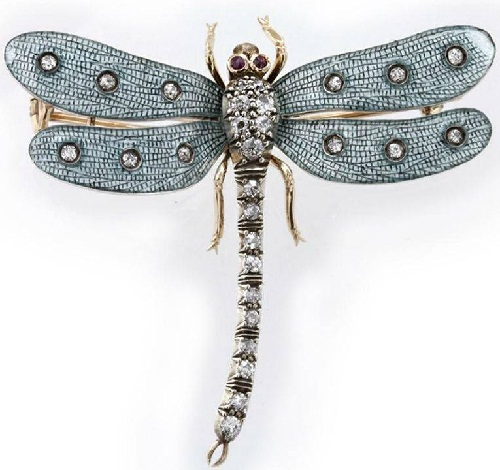 Insect Jewellery Kaleidoscope. Victorian brooch. Gold, enamel, diamonds