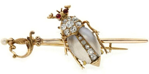 Victorian brooch. Gold, moonstone, diamonds, approx. 1890