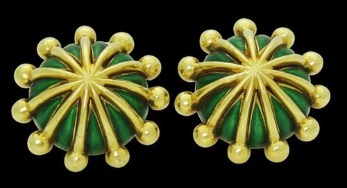 Yellow Gold & Green Enamel Cufflinks. French jewelry designer Jean Schlumberger